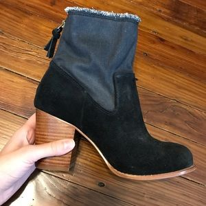 Splendid Suede & Denim Heeled Black Booties S7 NEW